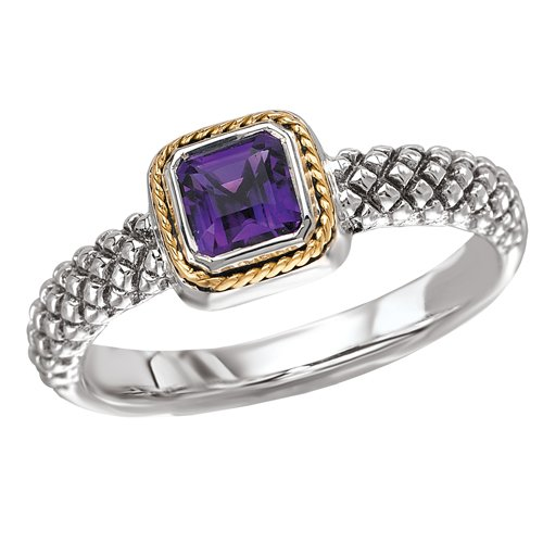 18K Yellow Gold and Sterling Silver Square Shaped with 5 X 5 MM Amethyst Ring