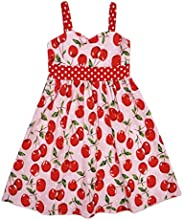 Lovely Girls Sleeveless Cherry Print Layered Princess Dress