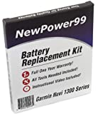 Garmin Nuvi 1300 Series (Nuvi 1300, Nuvi 1310, 1340, 1350, 1370, 1390) Battery Replacement Kit with Installation Video, Tools, and Extended Life Battery.