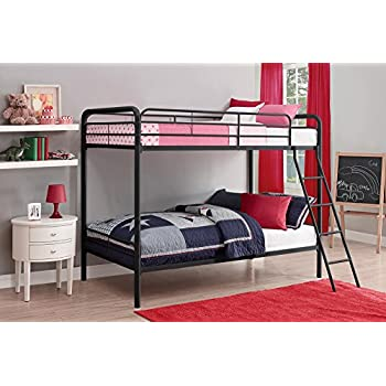 DHP Twin-Over-Twin Bunk Bed with Metal Frame and Ladder, Space-Saving Design, Black