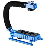 Neewer C-Shape Professional Versatile Action Stabilizing Handle Bracket with Removable Hot Shoe Mount for DV Camcorder, GoPro, iPhone, DSLR Camera, LED Light, Flash and Microphone(Blue)