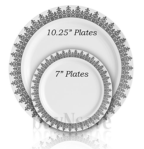 BuyNsave White with Silevr Heavyweight Plastic Elegant Disposable Plates, Wedding Party Elegant Dinnerware, Ornament Collection (35, 10.25