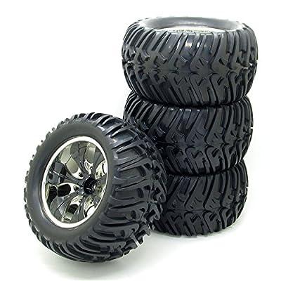 4Pcs 1/10 Truck Car Black Rubber Tires 12mm 7 Spoke Hub Wheel Rim for RC Cars Parts