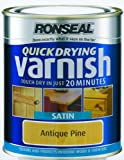Ronseal QDVSAP750 750ml Quick Dry Varnish Coloured Satin - Antique Pine