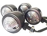 タビヲ (TABIWO) 汎用 ブレット バレット ウインカー アメリカン バイク 4個 セット 黒 クローム クリア レンズ オレンジ 発光 ブラック