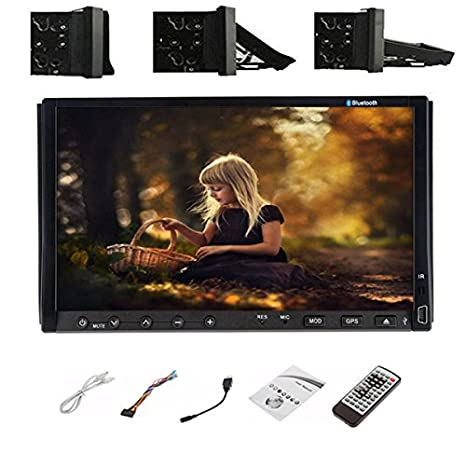 18 accessoires de voiture universel pour tableau de bord de voiture pour lecteur DVD autoradio 2 din à double écran tactile gps BT volant facultatif facultatif Headunit Autoradio USB/SD Bluetooth avec Radio FM