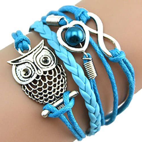 Meily♥TM Infinity Owl Pearl Friendship Multilayer Charm Leather Bracelets