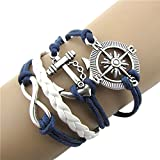 Ularmo® Hot Selling Hot Infinity Love Anchor Compass Leather Charm Bracelet Plated Silver
