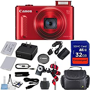 Canon Powershot SX610 HS 20.2MP Camera (Red) with 32GB Accessory Bundle + Extra Replacement Battery + Original Accessories + Spider Flexible Tripod + Deluxe Carrying Case + 12pc Bundle
