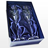 Beautiful Personalised Engraved Swarovski 'Cut Heart Swirl Design' Glass Champagne Flutes Presented In A Silk Lined Gift Box - A Wonderful Gift Idea For Wedding - Anniversary - Retirement