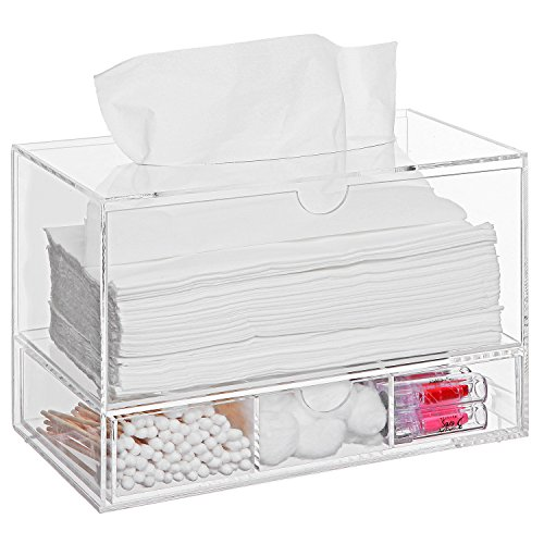 Modern Clear Acrylic Countertop Pull Out Storage Drawer Cosmetic Organizer Box W Tissue