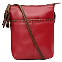 Whipstitched Leather Cross-body Handbag,One Size,Red/ Toffee