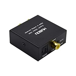 Musou 192kHz DAC Digital to Analog Converter Toslink Coaxial SPDIF Input to Analog RCA Stereo R/L Output Audio Adapter with 3.5mm Jack for PS3 Xbox HD