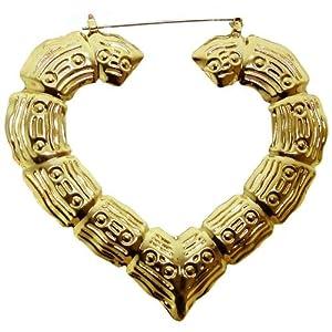 """2 3/4 X 3"""" Heart Bamboo Doorknocker Earrings, in Gold Tone"""