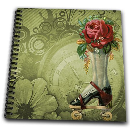 3dRose db_102680_2 Vintage Victorian Steampunk Roller Skate Boot with Red Rose Clock Background Memory Book, 12 by 12-Inch