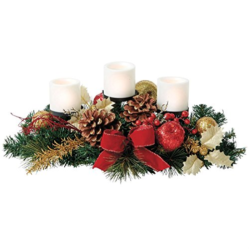 Creating a beautiful christmas centerpiece for christmas table for Candy cane holder candle centerpiece
