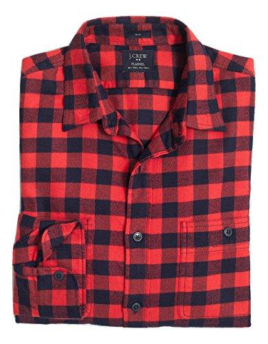 jcrew-slim-plaid-flannel-shirt-small-navy-dark-vermillion