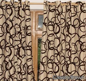 Cream Gold With Black Velvet Circles Eyelet Faux Silk Curtains 58 X 54