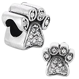 Anmao Stainless Steel Jewelry Puppy Feet Charms with Crystal Birthstone Charms Fit Pandora FMC-29001