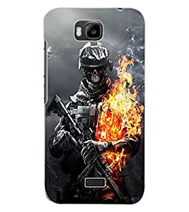ColourCraft Flaming Fighter Design Back Case Cover for HUAWEI HONOR BEE