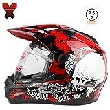 バイクヘルメット オフロード フルフェイス 怪獣エナジー シールド付き オフロード バイザー取り外せる フルフェイスに変身!ゴーグルをプレゼントします。【商品07/XXL】