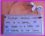 A Little Bit of Heaven Memorial Gift Blue Shabby Chic Handmade Wooden Plaque