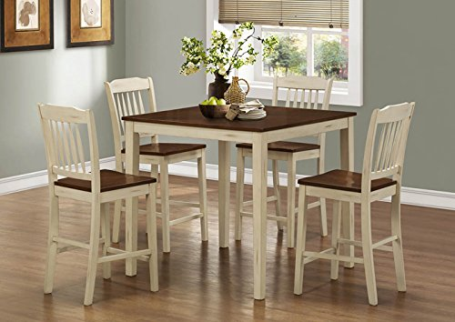 ANTIQUE WHITE / WALNUT 5PCS COUNTER HEIGHT DINING SET (SIZE: 39L X 39W X 36H)
