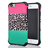 Iphone 6 Case, Meaci® Cell Phone Case for Iphone 6 (4.7 Inch) Case 2 in 1 Combo Hybrid Hard Pc & Rubber Case Dual Layer Bumper with Smooth Exquisite Pink Blue Leopard Pattern Protective Case - Black Rubber