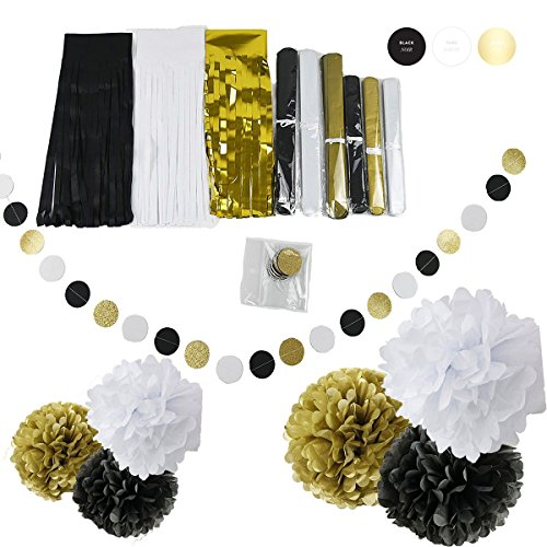 Party Decoration Black White Glitter Gold Tissue Paper Pom Pom Paper Tassel Garland Paper Circle Garland for New Years Party Decor,Wedding Birthday Decoration New Years Eve Gold Hollywood Glamour