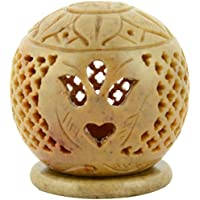 Origin Crafts Stone Tealight Candle Holders - 8 Cm X 8 Cm X 10 Cm, Natural Stone - B01A3257W0