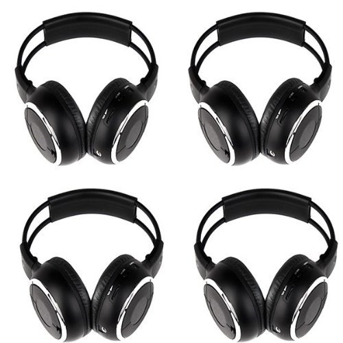 "Four Pack Of Two Channel Folding Adjustable Universal Rear Entertainment System Infrared Headphones With 4 Additional 48"" 3.5Mm Auxiliary Cords Wireless Ir Dvd Player Head Phones For In Car Tv Video Audio Listening"