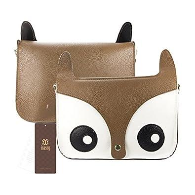 SAVFY Fashion Hot Retro Contrast Color Little Naughty Owl Fox Bag Messenger PU Leather Crossbody Purse Satchel Handbag Girl Lady Shoulder Bag (BROWN)