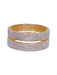Gehna Handmade Pair Of Bangle Made In Metal Studded With AAA Quality A.D