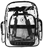 K-Cliffs Clear Transparent PVC School Backpack / Outdoor Backpack with Black Color Trim