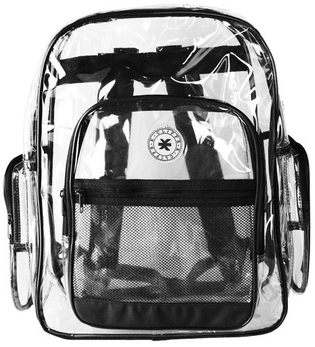 Cliffs Clear Transparent PVC School Backpack / Outdoor Backpack with ...