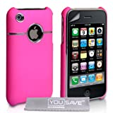 Pink And Chrome Hard Hybrid Case For The Apple iPhone 3 / 3G / 3GS With Screen Protector Film And Grey Micro-Fibre Polishing Clothby Yousave Accessories TM