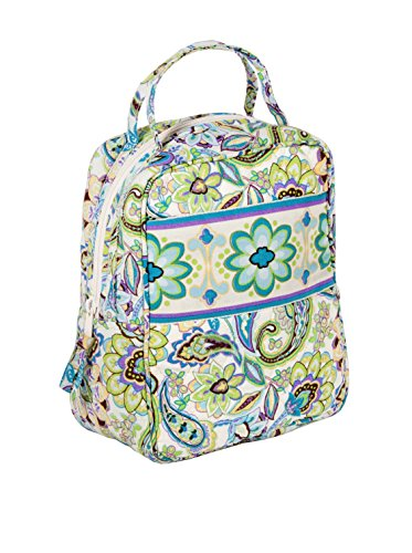 Maria Green Flower-designed Lunch Tote - 100% Cotton & Nylon Lining Zipped Lunch Bag with Handles