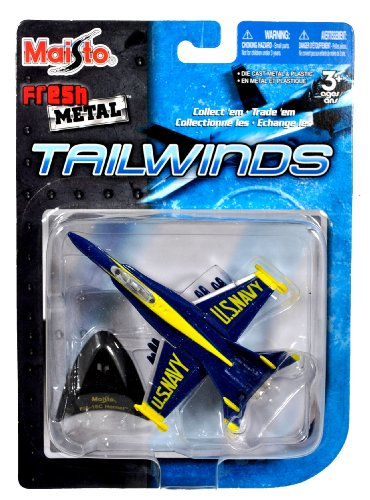 Maisto Fresh Metal Tailwinds 1:137 Scale Die Cast United States Military Aircraft : U.S. Navy Blue Angel All-Weather Carrier-Capable Multirole Fighter Jet (Ground and Air) F/A-18C Hornet with Display Stand (Dimension: 3-1/2