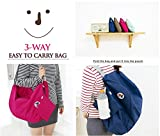 Packnbuy 3 Way Easy to Carry Folding Bag (Shoulder Bag, Backpack) (navy Blue)