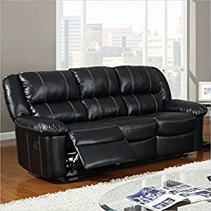 furniture bonded leather reclining sofa black power reclining sofa