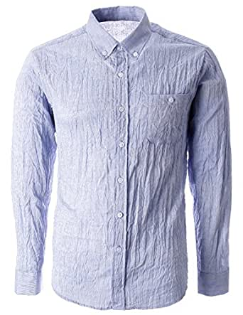 Flatseven mens crinkled cool fabric long sleeve shirt for Cool long sleeve button up shirts