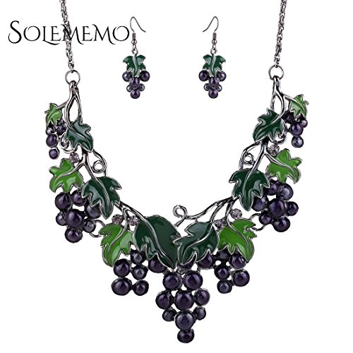Fashion Jewelry Sets for Women Oil Dip Grape Pendant Statement Necklace Earrings (Grape Dip compare prices)