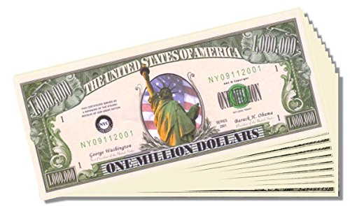 Lady Liberty Novelty Million Dollar Bill - 25 Count with Bonus Clear Protector & Christopher Columbus Bill - 1