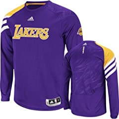 Adidas Purple Los Angeles Lakers On-Court Long Sleeve Shooting Shirt by JAGZ