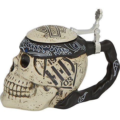 Harley Davidson Sculpted 24oz Ceramic Skull Stein