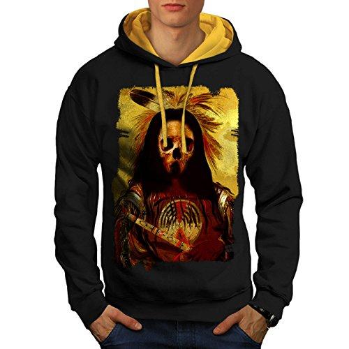 [Skull Indian Soldier Costume Men NEW Black L Contrast Hoodie | Wellcoda] (Mayan Warrior Costumes)
