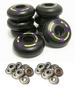 TRUE SPORT YOUTH Inline Skate Wheels 64mm 82a COMBO SET INCLUDES BEARINGS by True Sport