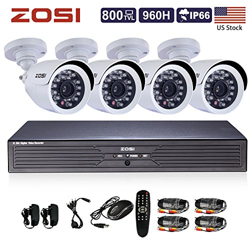 ZOSI 4CH Full D1 960H HD DVR 4PCS 800TVL HD 24IR Outdoor...