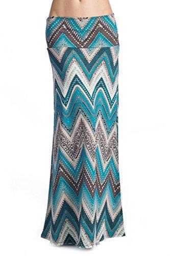 82 Days Women'S Poly Span Multi Color Chevron Print Maxi Skirt - G45 Jade & Gray CHV L