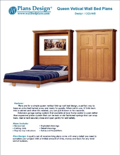 Murphy Craftsman Design Bed Frame, Queen Size / Horizontal Wall Bed Woodworking Plans, 2Qvwb